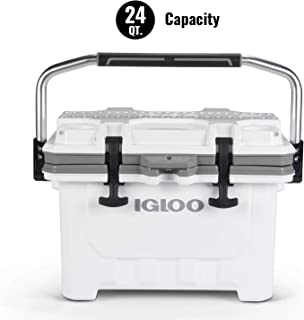 Igloo IMX 24 Quart Cooler with Cool Riser Technology, Fish Ruler, and Tie-Down Points - Heavy-Duty Marine Ice Chest - White