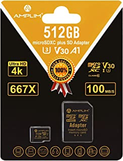Amplim 512GB Micro SD SDXC Card Plus Adapter Pack 512 GB MicroSD Card Pro V30 A1 Class 10 U3 Extreme Speed 100MB/s UHS-I T...