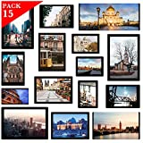 YISMEET Magnetic Photo Pocket Picture Frame, Photo Collage for Refrigerator, Holds 4X6 inches, 3.5X5 inches, 3X4.5 inches, 2.5X3.5 inches, and a Free Combination Dimensions, 15 Pack, Black