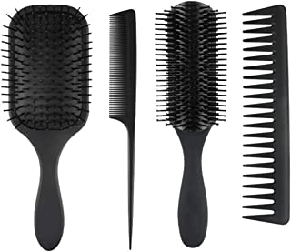 Beauenty 4Pcs Paddle Hair Brush Comb, wide tooth comb and Hair Comb Set for Men and Women, Great On Wet or Dry Hair (4PCS ...