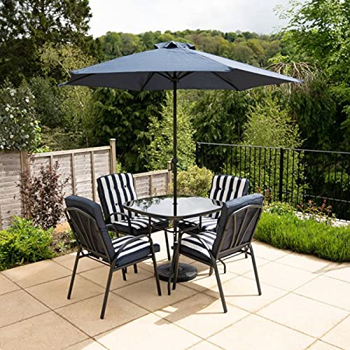 HECTARE Hadleigh Garden Outdoor Patio Table/Chair/Parasol Dining Furniture Set (4 Seater, Navy)