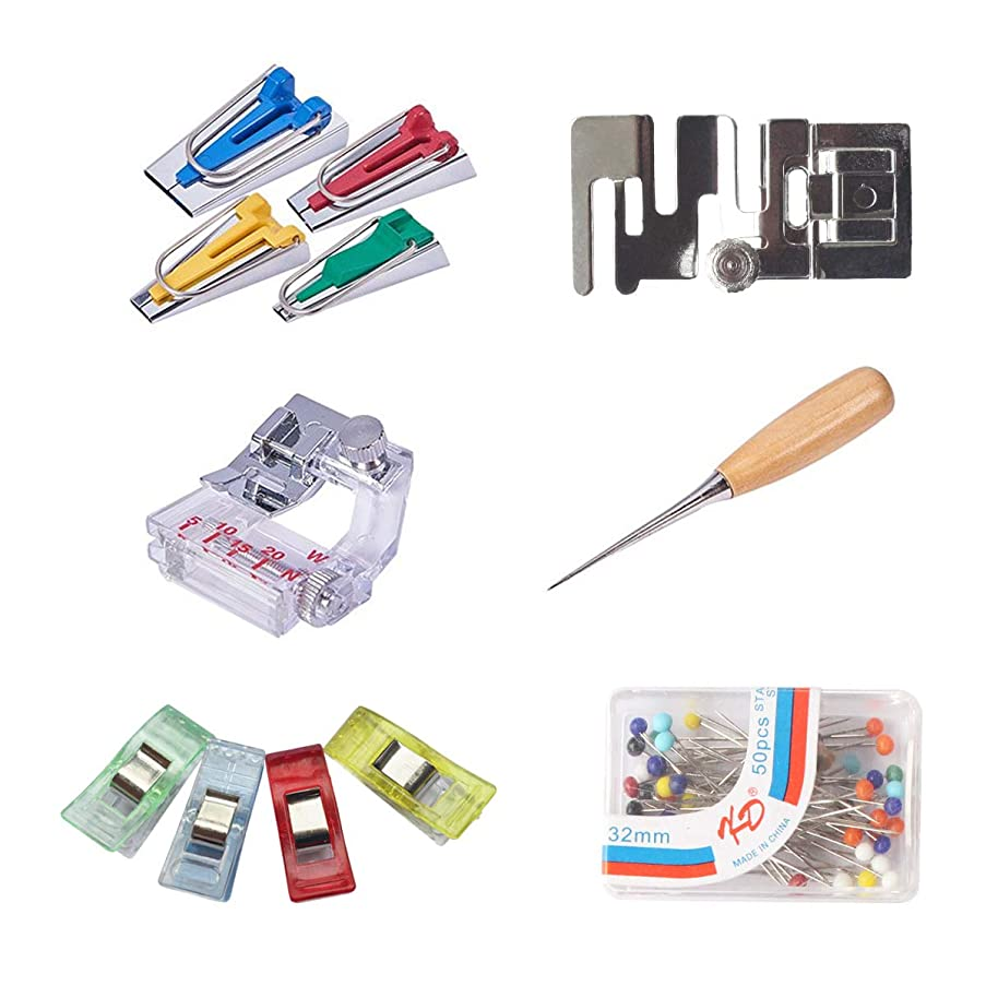 xhlife Bias Tape Makers Kit with Sewing Wooden Awl Adjustable Binder Clip Bead Needles Pressure Foot 61 Pieces for Sewing Quilting Fabric Bias Tape Maker Tools Set