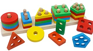 GETIANLAI Wooden Educational Preschool Toddler Toys Shape Color Sorting Block Puzzles for Boys & Girls