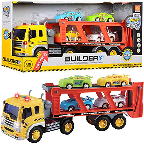 Friction Powered Transport Car Carrier Truck Kids Toy - Heavy Duty Auto Transporter Trailer with Lights, Sound Effects, and Ramp (Includes 4 Removable Cars)
