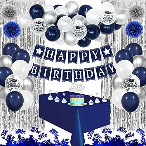 APERIL Decoraciones de Cumpleaños Azul, Fiestas de Cumpleaños Decoracion, Pancarta Feliz Cumpleaños, Pompones de Papel, Cortina Seda Lluvia, Manteles Azul, 10 Confetti de Mesa para Hombres Mujer