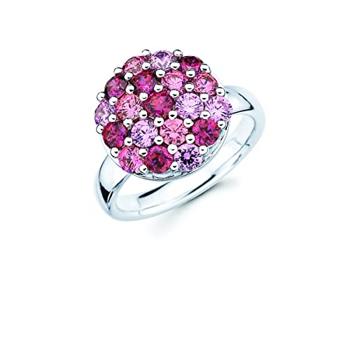 700390276 Lotopia Round Cluster Ring in Sterling Silver with Pink & Red Swarovski  Zirconia