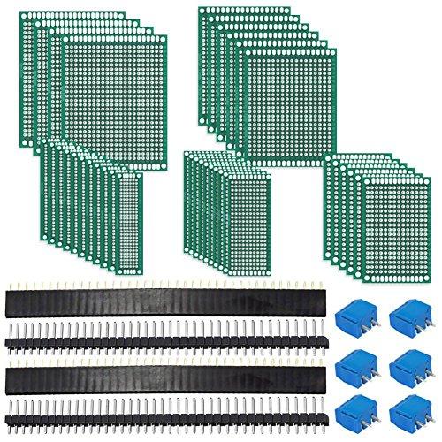 SODIAL Kit tablero PCB 62Pcs Incluye 32 piezas placas