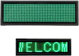 LED Name Message Tag, Scrolling Name Badge Rechargeable Pin Magenta Price Tag Reusable Business Card Screen with 4411 Pixels Programming for Restaurant Shop Party Bar Exhibition(Windows Only) (Green)