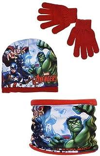 Conjunto Avengers Gorro, Braga y Guantes - Set Polar Los Vengadores - Color Rojo