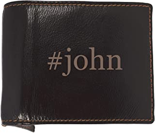 #john - Soft Hashtag Cowhide Genuine Engraved Bifold Leather Wallet