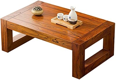 Table Solid Wood Rectangular Coffee Old Elm Coffee Tatami Coffee and Bay Window Solid Wood Japanese Tea and Low (Size : 60 * 40 * 30cm)
