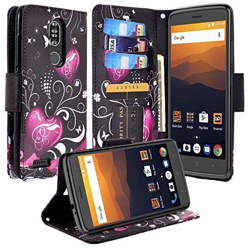Compatible for ZTE Max XL Case, ZTE Blade Max 3 Case, ZTE Max Blue Case, SOGA [Pocketbook Series] PU Leather Magnetic Flip Design Wallet Case (Black Butterfly Heart)