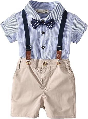 AnyuA Bebé Niño Camiseta Mangas Cortas Pantalones de Tirantes Corbata de Moño Ropa Conjunto