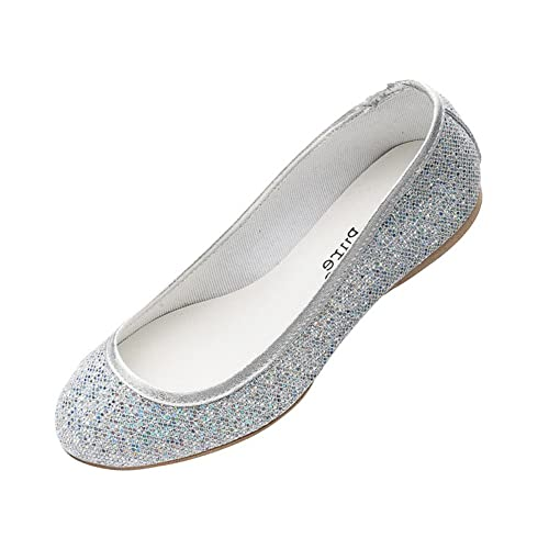 f1d330114bcd Katz Dancewear Ladies Girls Silver Glitter Wedding Bridesmaid Party Ballerina  Pump Shoes Lucy