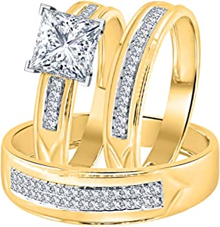 Princess Cut White CZ Diamond 14k Yellow Gold Over Sterling Silver Wedding Trio Ring Set for Him & Her
