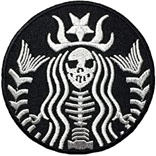Dead Mermaid Zombie Halloween Skull Skeleton Sew Iron on Embroidered Patches - Black (1Pcs.)