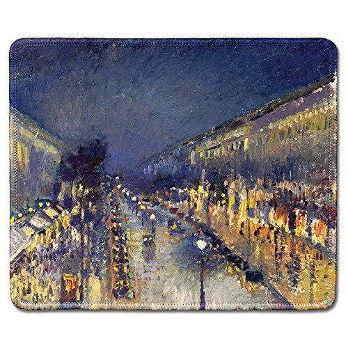 dealzEpic - Art Mousepad - Natural Rubber Mouse Pad with Famous Fine Art Painting of The Boulevard Montmartre at Night by Camille Pissarro - Stitched Edges - 9.5x7.9 inches