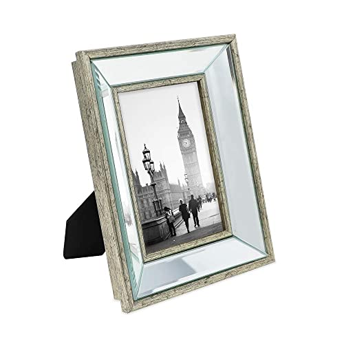 395427b7a645 Isaac Jacobs 4x6 Silver Beveled Mirror Picture Frame - Classic Mirrored  Frame with Deep Slanted Angle