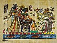 100%本物のエジプト製オリジナル手描き絵パピルス紙ファラオ古代8インチx12インチ(20x30cm)キングTUT&彼の妻庭とマットヒエログリフスクロール歴史ファラオパピリヒエログリフ