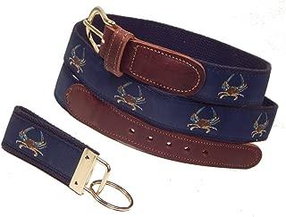 Preston Leather Maryland Blue Crab Ribbon Belt, Navy (w/Navy Web), Sizes 30 to 50, FREE Matching Key Ring