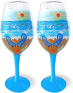 Best beach themed painted wine glasses Reviews