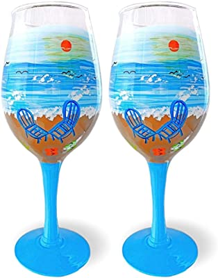 Beach Wine Glasses - Set of 2 Standard Wine Glasses – Hand-Painted Oceanside Nautical Design - Seaside - 14 oz