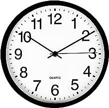 Vameritik Wall Clock, 30CM Black Round Wall Clocks, Quality Quartz Silent Move Non Ticking Battery Operated Easy To Read, ...