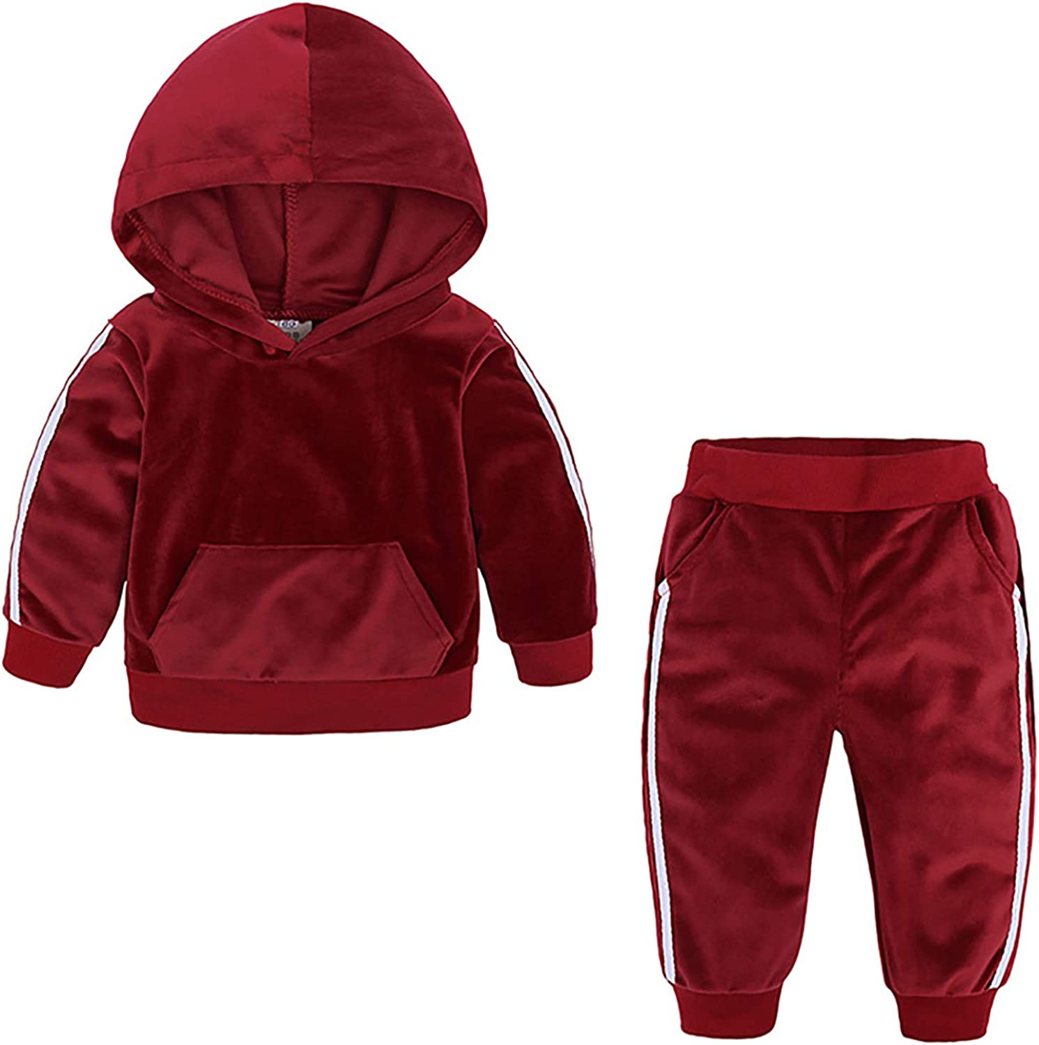 winying Baby Girls Boys Velour Tracksuit Hooded Stripes Side Tops Sweatshirt with Sweatpants Set
