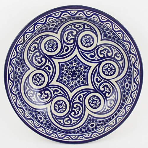 Casa Moro Orientalische handbemalte Keramik Schale Teller F017 rund Ø 34 cm blau weiß | Salatschüssel Obstschale | KSF017