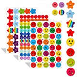 30 Sheets 1790 Pcs Happy Face Stickers and Smiling Star Stickers,Reward Stickers for Teachers Children Parents Kids Craft Scrap Books Decoration Potty Teacher Supplies for Classroom, Motivational Stickers