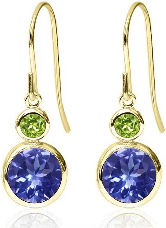 2.04 Ct Round bluee Tanzanite Green Peridot 14K Yellow gold Earrings