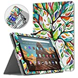 Dadanism All-New Amazon Fire HD 10 Tablet Case (9th Generation - 2019 Release) / (7th Generation - 2017 Release), Folio Cover Slim Stand with Card Slot for 10.1 Inch Cover - Lucky Tree