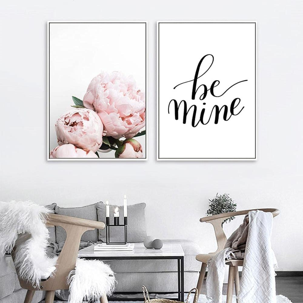 Canvas Max 62% Max 58% OFF OFF art Pink Peony Flower Fashi Painting Nordic Letter