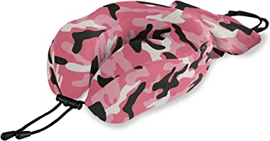 ALAZA Memory Foam Travel Pillow Camo Pink Camouflage Neck Pillow for Airplane Travel Kit with Snap Clip, Soft Comfortable and Washable