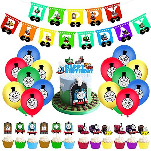 THOMAS Decorazioni Compleanno 1 Anno Palloncini Addobbi Festa Compleanno Bambini con Decorazioni Torta Compleanno Kit di...