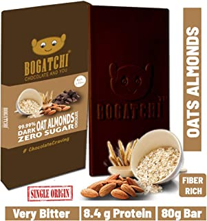 BOGATCHI Oats 99.99% Dark Healthy Chocolate Bar with Roasted Almonds, Low Carbs, Keto Chocolate, 80g