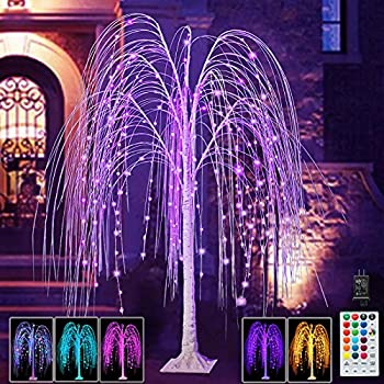 Pooqla 240 LED 5FT Colorful Halloween Lighted Willow Tree RGB LED Tree with Remote Willow Tree with Multicolored String Lights for Indoor Outdoor Christmas Party Home Wedding Garden Decoration