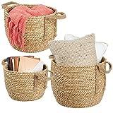 mDesign Juego de 3 cestas de almacenaje de Crin Marina – Prácticos canastos para baño, Dormitorio o salón – Modernas Cajas de ordenación con Asas de Fibra Natural – Color Crudo
