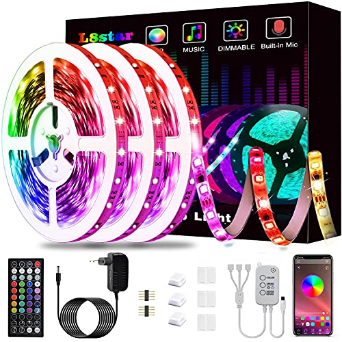 Tiras Led 15m, L8star Tiras de Luces Led Smart 5050 Control APP,Luces Led Habitacion con Controlador Bluetooth Sincronizar, con Música Solicitar TV Dormitorio