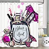 Fashion Girl Makeup Shower Curtain, Cosmetic and Makeup Pattern with Perfume Lipstick Nail Polish Brush Modern Bathroom Decor, Fabric Bathroom Curtain Set with Hooks, 70 in
