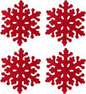 Azude Christmas Decorations Cute Red Felt Snowflake Drink Wine Coffee Cup Coasters Set for Xmas Holiday Ornaments, 4pcs