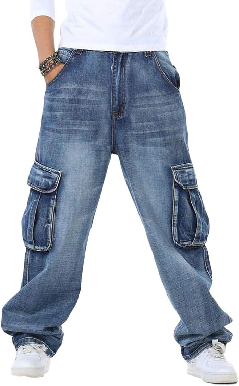 Maweisong Men's Casual Loose Pocket Hip Hop Denim Work Pants Cargo Jeans