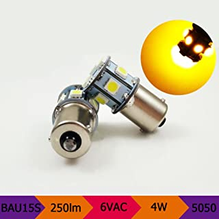 6V AC BAU15S PY21W Amber 5050 8 SMD 250LM LED Replacement Bulb For Reverse light, Turn signal light, Tail light, Daytime Running Light (2-Pack)