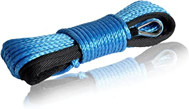 QIQU Winch Rope 3/16 inch Synthetic Winch Rope for Electronic Winch on ATV/UTV/Snowmobile with Sleeve and Thimble (3/16''40feet, Blue)