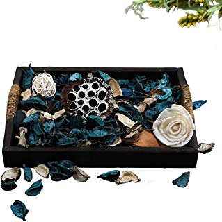 Qingbei Rina Gifts, Scent Potpourri Box, Including Flowers, Petal, Pinone, Rattan Ball, Sepa Takraw, Perfume Satchet in PVC Box.Home Decoration, 10.2oz (Rectangular-Blue)