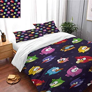 HRoomDecor Funny Bedding Set for Kids,Boys and Teens Angry Flying Birds Figure Full Size(80x90 Inch) 3 Piece Cover Set with 2 Pillow Shams