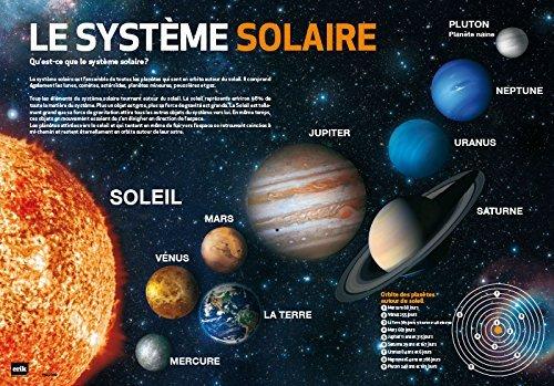 Erik - Sottomano Mulitifunzione Sistema Solare in francese, ideale come sottomano scrivania o tovaglietta colazione, 49,5x34,5 cm