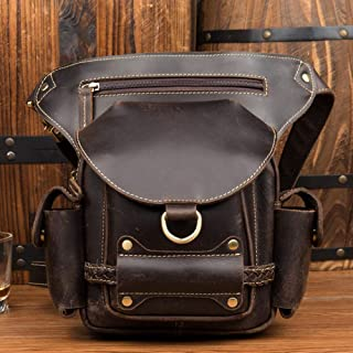 Mens Bag Leather, Hardware,Black Handmade Old Crazy Horse Leather Leg Bag, Leather Retro Pocket, Leather Casual Men's Bag, High capacity