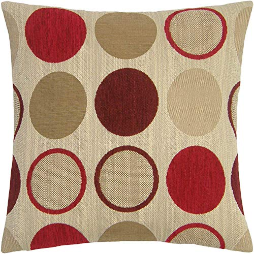 Just Contempo Housse de coussin en chenille Motif cercles Rouge/crème/beige 45,7 cm