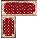 """Kitchen Mat,Hihome Decorative Non-slip Polyacrylonitrile Red Kithchen Rugs Set Bathroom Mats Set Floor Mats Set Shower Rugs for Living Room (17.7""""x27.5""""+17.7""""x47.2"""", Red 2in1)"""